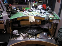 The clutter of Phill's workbench after Christmas, 2005...(PHEW!)